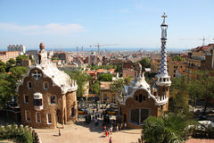 Barcelona. Famous Park Guell in Barcelona. Landmark by Antonio Gaudi. Cityscape skyline in the background stock image