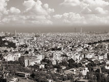 Barcelona. Skyline. Aerial view towards the city Tibidabo mountain stock image