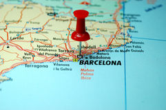 Barcelona. Push pin stuck on a map centred on the city Barcelona, Spain royalty free stock photography