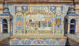 Barcelona. Andalusian ceramic Poster depicting historic moments of the city of Barcelona Stock Photography