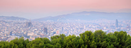 Barcelona. Panorama of Barcelona, Spain at sunset Stock Photo