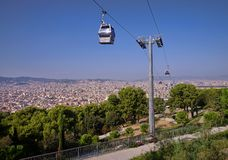 Barcelona. City and cable car from Montjuic hill Royalty Free Stock Images