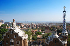 Barcelona. From Guell Park. Rooftops and church spires visible in the foreground Royalty Free Stock Image