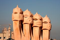 Barcelona. Chimenys on one of Gaudi's houses in Barcelona, Spain Stock Photography