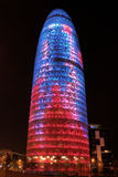Barcelona. Impressive illuminated Agbar Tower in Barcelona, Spain stock images
