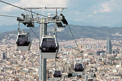 Barcelona. Modern cable car in Barcelona city, Spain Royalty Free Stock Image