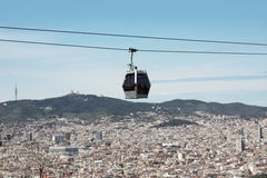 Barcelona. Modern cable car in Barcelona city, Spain royalty free stock photos