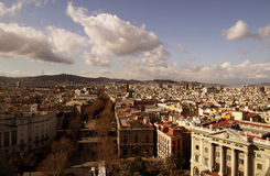 Barcelona from above. Aerial view of Barcelona city, Spain Stock Images