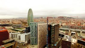 Barcelona Aerial Drone View Agbar Tower stock video
