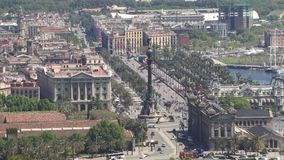 Barcelona aerial view of the city and cars stock video footage