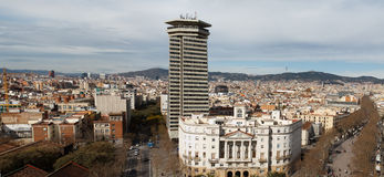 Barcelona aerial view panorama Royalty Free Stock Photo