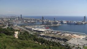Barcelona aerial view of the port stock video footage