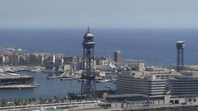 Barcelona aerial view of the port stock video