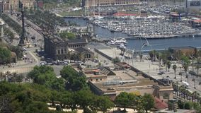 Barcelona aerial view of the port and harbor stock footage