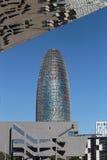 Barcelona Agbar wierza odbicie przy Els encants lustra strukturą i skyscrapper Fotografia Stock