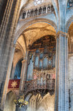 Barcelona, antique pipe organ of the Cathedral of the Holy creu Royalty Free Stock Photography