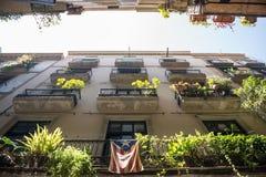 Barcelona. Apartment house with Estelada flag at Gothic Quarter in Barcelona, Spain Stock Photos