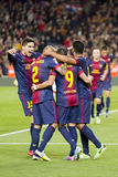 Goal celebration. BARCELONA - APRIL 6: FCB players celebrating a goal at Spanish league match between FC Barcelona and RDC Mallorca, final score 5-0, on April 6 Stock Image