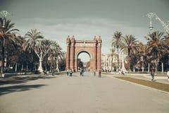 Barcelona, Arc de Triomf. Arc de Triomf the grand entrance to Parc de la Ciutadella in Barcelona designed and built by Domenech i Montaner in 1888. Perspective Royalty Free Stock Image