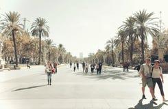 Barcelona, Arc de Triomf. Arc de Triomf the grand entrance to Parc de la Ciutadella in Barcelona designed and built by Domenech i Montaner in 1888. Perspective Stock Photo