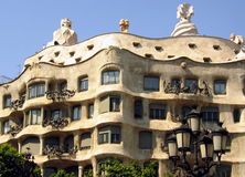 Barcelona architecture on a clear sunny day. Spanish architecture in Barcelona on a clear sunny day Royalty Free Stock Images