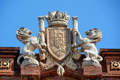 Barcelona architecture detail. Triumph Arch (Arc de Triomf) detail, Barcelona, Spain Royalty Free Stock Photography