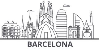 Barcelona architecture line skyline illustration. Linear vector cityscape with famous landmarks, city sights, design. Icons. Editable strokes royalty free illustration