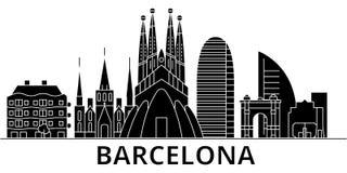 Barcelona architektury miasta wektorowa linia horyzontu, podróż pejzaż miejski z punktami zwrotnymi, budynki, odosobneni widoki n Obrazy Stock