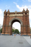 Barcelona  Arco de Triunfo. The Arc de Triomf or Arco de Triunfo in Spanish, is a triumphal arch in the city of Barcelona in Catalonia, Spain. It was built, by Stock Images