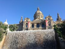 Barcelona. Art museum with a waterfall in the foreground Stock Photos
