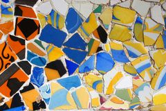 Barcelona art. Park Guell colorful ceramic mosaic background Stock Images