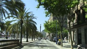 Barcelona main street driving down stock video footage
