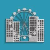 Barcelona attraction ferris wheel landmark tourism. Vector illustration Stock Photography