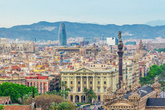 Barcelona Attractions Cityscape of Barcelona. Stock Image