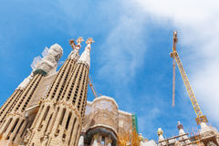 Barcelona Attractions, La Sagrada Familia, Catalonia, Spain. Royalty Free Stock Photo