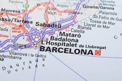 Barcelona auf Karte Lizenzfreies Stockfoto