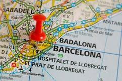 Barcelona auf Karte Lizenzfreies Stockbild