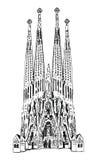 Barcelona-Aufkleber Sagrada Familia lokalisiert auf weißem Hintergrund Stockfotografie