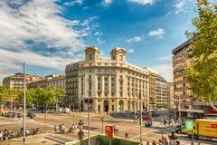 Aerial view of Passeig de Gracia, Barcelona, Catalonia, Spain Stock Photos
