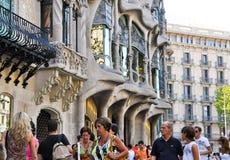BARCELONA-AUGUST 13: Casa Batlló by Antoni Gaudí on August 13,2009 in Barcelona, Catalonia, Spain Stock Photos
