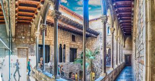 Inner courtyard and cloister of Museu Picasso, Barcelona, Catalo. BARCELONA - AUGUST 12: Inner courtyard of Museu Picasso in Barcelona, Catalonia, Spain, on stock photography