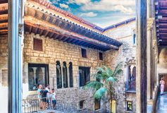 Inner courtyard and cloister of Museu Picasso, Barcelona, Catalonia, Spain. BARCELONA - AUGUST 12: Inner courtyard of Museu Picasso in Barcelona, Catalonia stock image