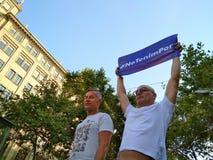Barcelona, am 26. August 2017: Marschtag gegen Terrorismus stockbild