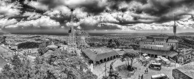 Aerial view over the Tibidabo Amusement Park, Barcelona, Catalon Royalty Free Stock Photos
