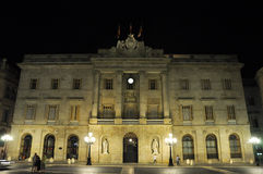 BARCELONA-AUGUST 13: Saint James's Square and Palace of the Generalitat at night. Royalty Free Stock Image