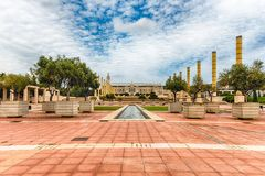 Architecture of the Olympic Park of Montjuic, Barcelona, Catalon Royalty Free Stock Photo