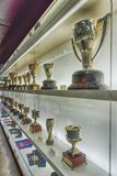 Trophy case at FC Barcelona's Museum, Barcelona, Catalonia, Spai stock photo