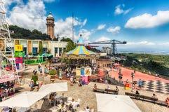 Scenic view over the Tibidabo Amusement Park, Barcelona, Catalon Stock Images