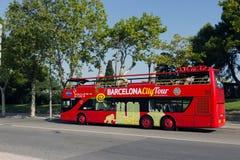 De bus van de toerist in Barcelona, Spanje Stock Afbeelding