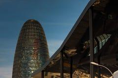Barcelona, AV przekątna, Styczeń 2016 - Torre Agbar- nowożytny drapacz chmur Zdjęcia Royalty Free